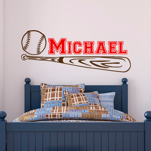 Beautiful Baseball Wall Stickers Bedroom Removable Vinyl Sticker Customized Name  Sports Wall Decals