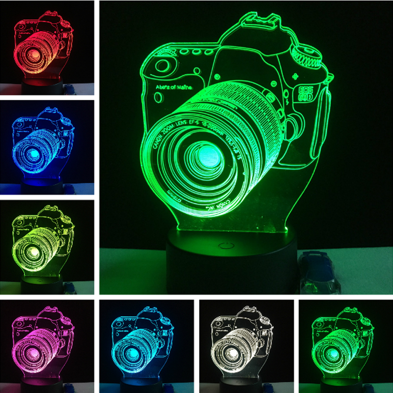 Luxury Cool 3D Camera USB LED Lamp decoration home kid sleep 7 Color Change Night Light Illusion Child bedroom table desk Gift kawaii animal lamp 3d led night light lovely cartoon rabbit multicolor change table home child bedroom decor kids birthday gift