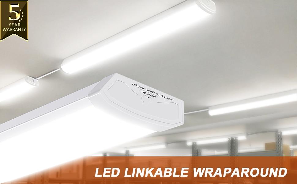 4FT LED Wraparound 40W LED Shop Lights for Garage 4400lm 4000K LED Wrap Lights