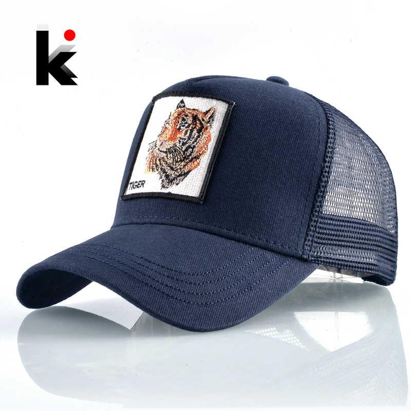 Модные бейсболки вышивкой тигра патч кепка мужская бейсболка женская  Обувь с дышащей сеткой водитель грузовика кепки унисекс хип-хоп козырек