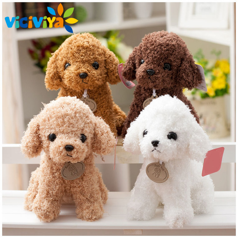 VICIVIYA 20CM Cute Plush Puppy Dolls Curly Teddy Dogs Puppy Rag doll Stuffed Pet  Soft Toys for Kids Children Birthday Gifts# 1pcs 22cm fluffy plush toys white eyebrows cute dog doll sucker pendant super soft dogs plush toy boy girl children gift