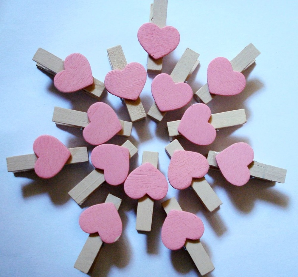 50pcs Pink Heart Shaped Wood Clips For Photo Clips Clothespin Craft Creative Decoration Clips Wooden Pegs 3.5x0.7cm