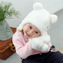 Комплект из 2 предметов; очень милая детская зимняя шапка; комплект из теплого плюша; детская шапочка; шапочка с ушками для новорожденных