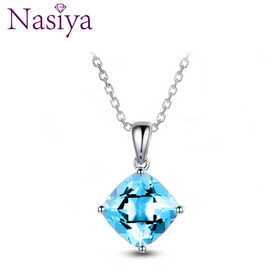 NASIA 925 Sterling Silver Pendant Necklace For Women Jewelry Square Lake Blue Topaz Wedding Engagement Party Valentine Day Gifts
