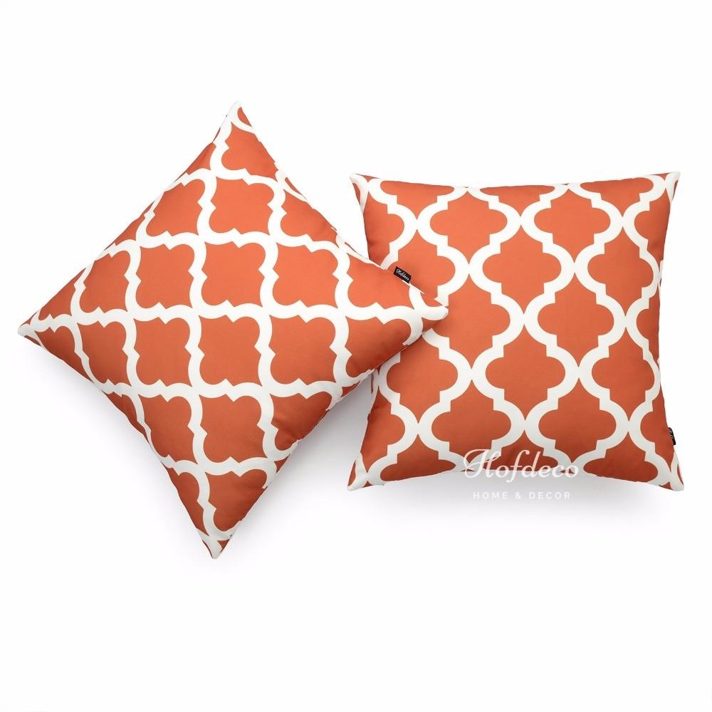 2pcs throw pillow cover set canvas burnt orange moroccan quatrefoil car decor 45cmchina