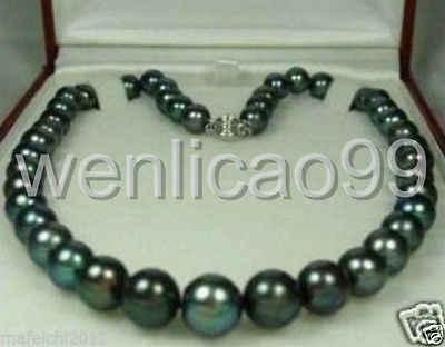 """ธรรมชาติ 8-9 มม. Tahitian Black Pearl สร้อยคอ 17 """"AAA"""