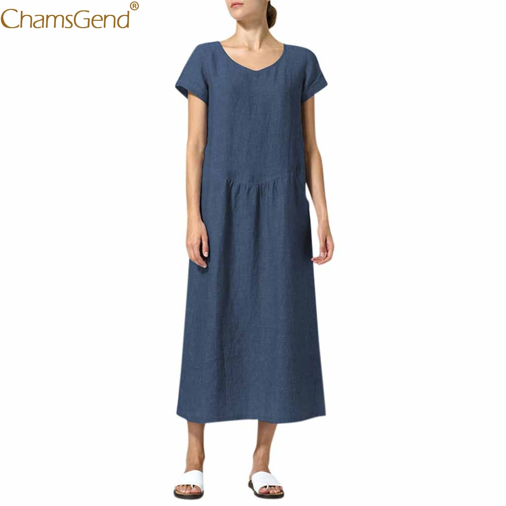 Natural Pure Colour summer dresses women 2019 summer dresses casual Loose Solid Brief ound Neck Simple Long Dresses Mar