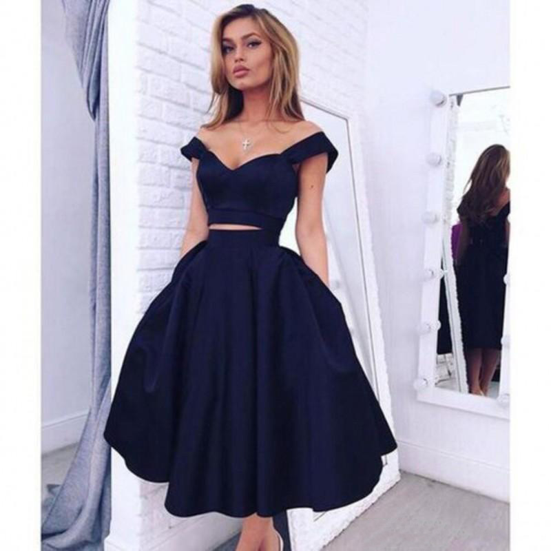 Cheap Homecoming   Dresses   Party   Dresses   Off The Shoulder Sexy Two Pieces Girl   Bridesmaid     Dress   Tea Length Black Graduation Dres