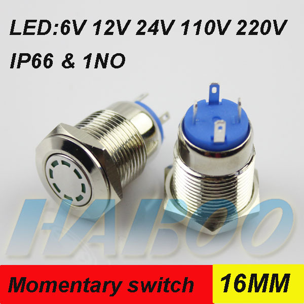 1pcs packing shipping free HABOO 16mm metal reset switch IP66 IK08 led push button switch waterproof switch 24V