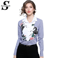 SunnyYeah Autumn Strip Shirts Blouses Women Tops Embroidery Top Office Work Ladies Blusas Feminina Turn Down