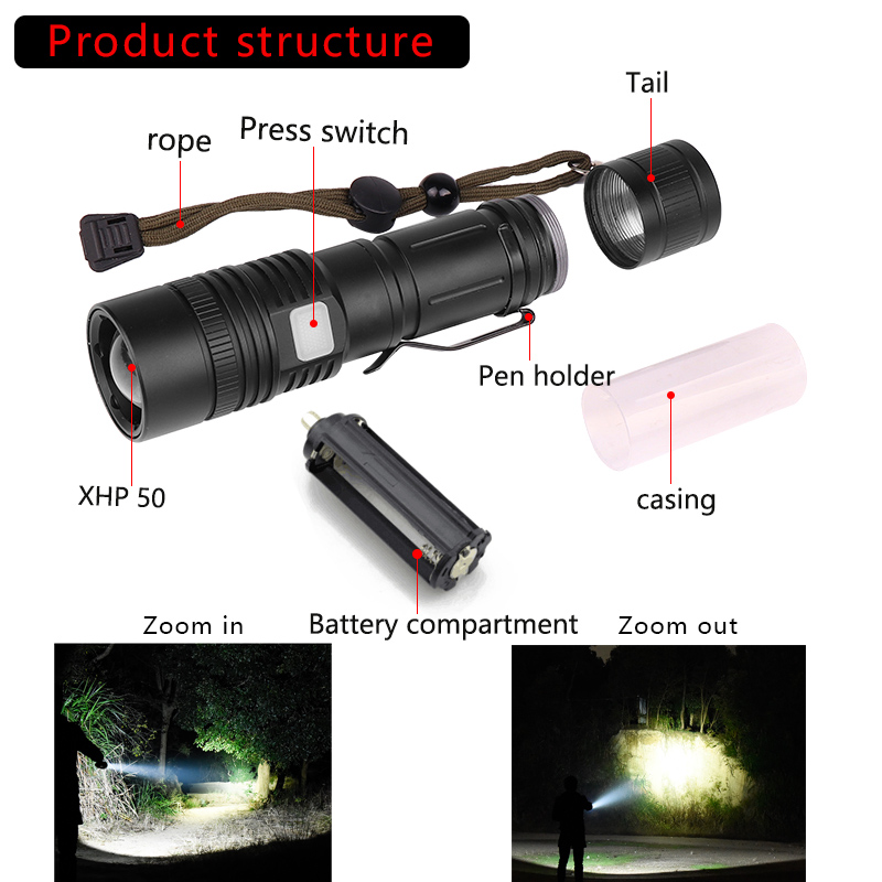 Image 2 - 60000LM Flashlight XHP50 LED Flashlight USB Rechargeable Torch Zoom Flashlight T6 Flashlight Lantern with 18650/26650 Battery-in LED Flashlights from Lights & Lighting
