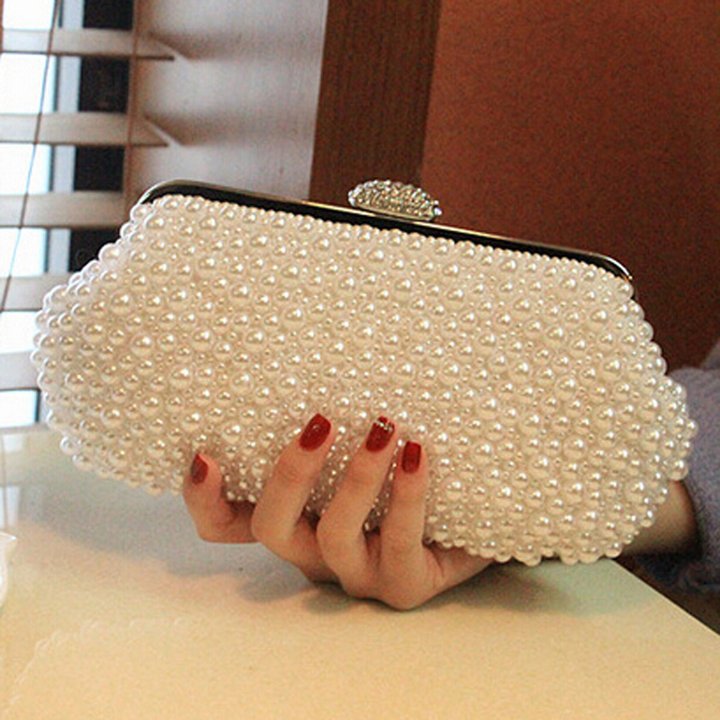 Women messenger beaded women vintage evening bags imitation pearl shell women bag shoulder bags,diamonds clutch bag for wedding(China)