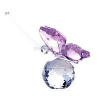 Lovely Mini Pink Crystal Butterfly Good Wishes Art Paperweight Romantic Gift Collection Home Decor