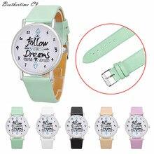 Brothertime C9 New Arrival Women Follow Dreams Words Pattern Leather Watch Dress Watch Wrist Watch #-090 Free shipping Wholesale