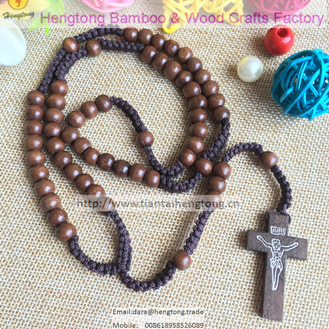 12pcs/pack 8MM natural wood brown color rosary necklace / cord religious rosary necklace/rope rosary