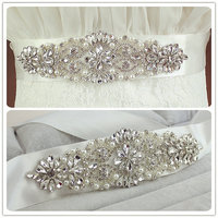 Real Satin Wedding Belt Crystal 6cm Wide Long Bridal Belts with Crystals Wholesale Wedding Sash Crystal Pearls
