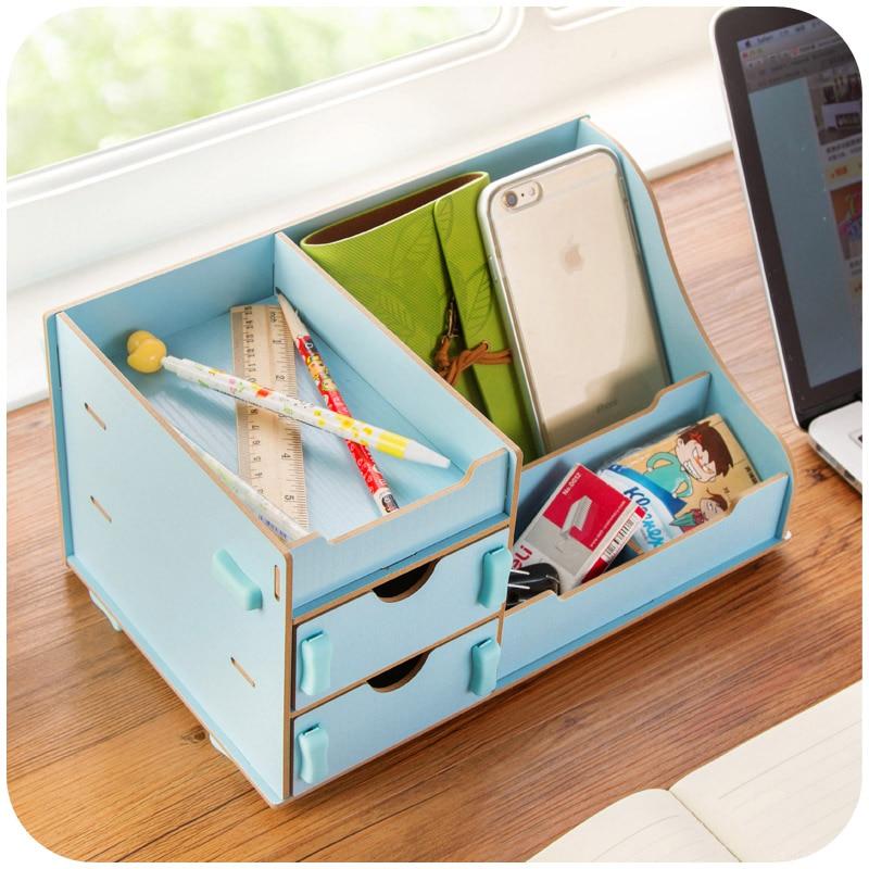 An upgraded version of DIY wood lovers office desktop storage box cosmetic finishing debris box