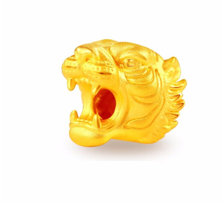 Hot sale Pure 999 gold 24K Yellow gold Tiger Head Pendant 1.13g