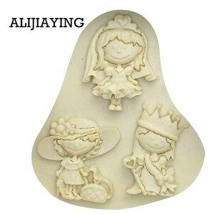 Image 2 - M0119 女の子王女花嫁ケーキデコレーションツール液体 3D シリコンモールド Diy ベーキングアクセサリー