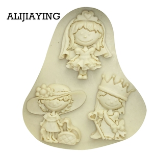 Image 2 - M0119 Girl princess bride cake decorating tools Liquid 3D Silicone Mold DIY baking accessories