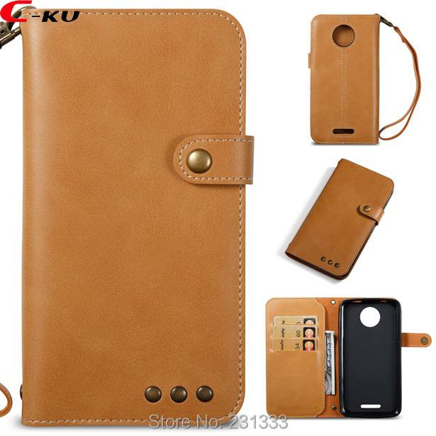 C-ku Genuine Retro Strap Wallet Leather Pouch Case For MOTO C Plus E4 G4 PLAY G5 G6 PLUS X 2017 Z2 Play ID Card Skin Cover 1pcs