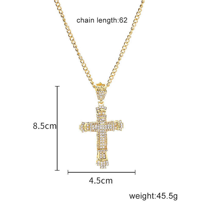 2019 New Hip hop Cross Necklace Men's Neutral Personality Stainless Steel Retro Celebrity Geometric Popular Bead Chain
