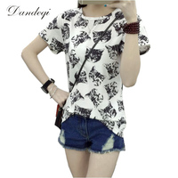 Women Top Summer New Fashion Female T-shirt Korean Sweet Cartoon Cat Printed Ladies Short Sleeve Tops Plus Size M-4XL