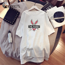 2019 Summer Women Dress Bugs Bunny Cute Cartoon Beach Clothes Casual Loose Dresses Mini White Plus Size M-4XL Vestidos New