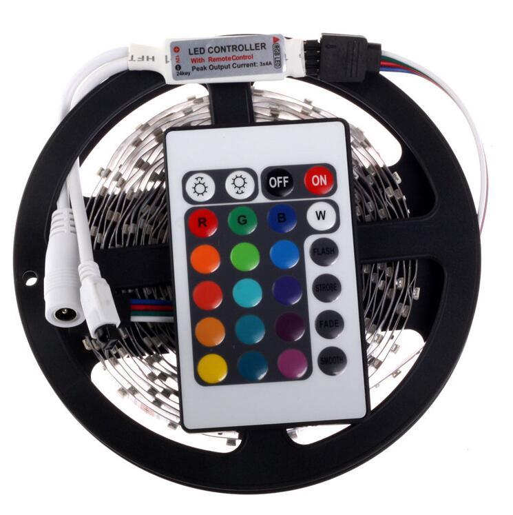 RGB LED Strip 5M 300Led 3528 SMD + 24Key IR Remote Controller Flexible Light Led Tape DC 12V Home Decoration Lamps