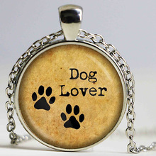 Wholesale glass photo necklace Dog Lovers Jewelry dog pendant glass necklace animal glass cabochon