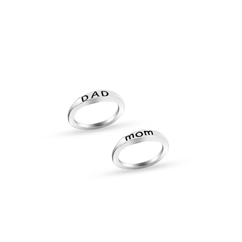 selfless mom and dad rings simple clear mom Rings for mother's day Gift  Print Mom Ring for Women father's day gift dady