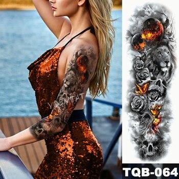 Large Arm Sleeve Tattoo Midnight Leopard Beauty Girl Waterproof Temporary Tattoo Sticker Moonlight Rose Full Skull Tatoo Women 2