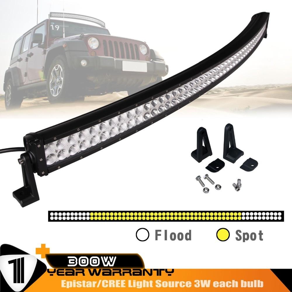 52 inch 300W Curved LED Light Bar LED Headlights Spot Flood Combo beam Driving for  Car Truck SUV 12V 24V 4x4 1pcs 120w 12 12v 24v led light bar spot flood combo beam led work light offroad led driving lamp for suv atv utv wagon 4wd 4x4