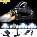8000LM Zoomable LED Headlamp 3 x CREE XML T6 Headlight 4 Modes 3T6 Camping Hunting Head Lamp +18650 Battery charger