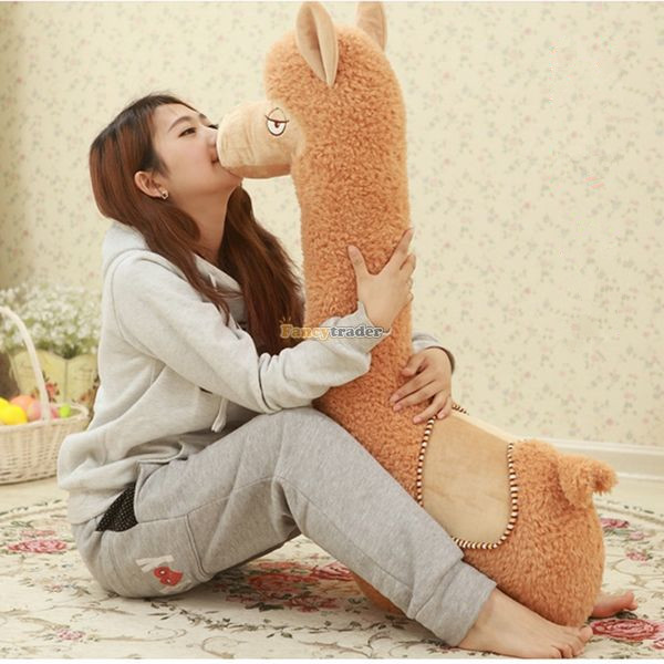 Fancytrader 2015 New 39'' / 100cm Giant Super Lovely Stuffed Soft Plush Alpaca Toy, Nice Gift For Kids, Free Shipping FT50292 fancytrader 43 110cm huge lovely stuffed cute plush soft pig toy nice gift for kids and friends free shipping ft50385