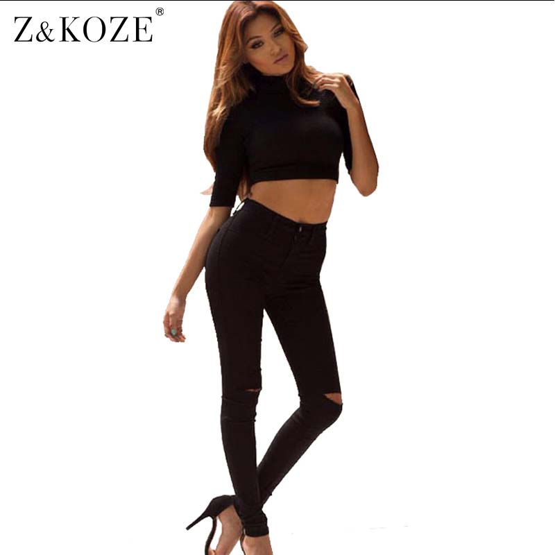 Z&KOZE Black Color Elastic Pencil Pants High Waist Ripped Skinny Jeans Sexy Distrressed Denim Trousers With Holes For Women ripped jeans for women 2016 high waist woman skinny pencil pants sexy holes black ripped jeans slim elastic trousers for women