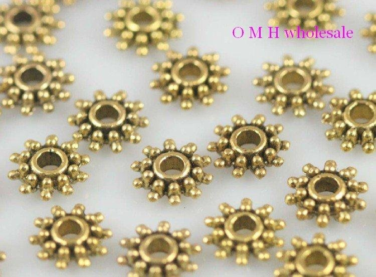 OMH Wholesale Free Ship 30pcs Golden Daisy Spacer Beads Jewelry Metal Beads 9X3mm ZL512