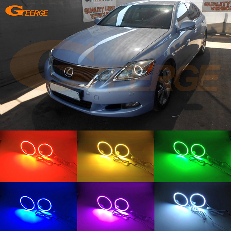 For LEXUS GS300 GS350 GS430 GS450 2006-2011 XENON headlight Excellent Multi-Color Ultra bright RGB LED Angel Eyes kit купить