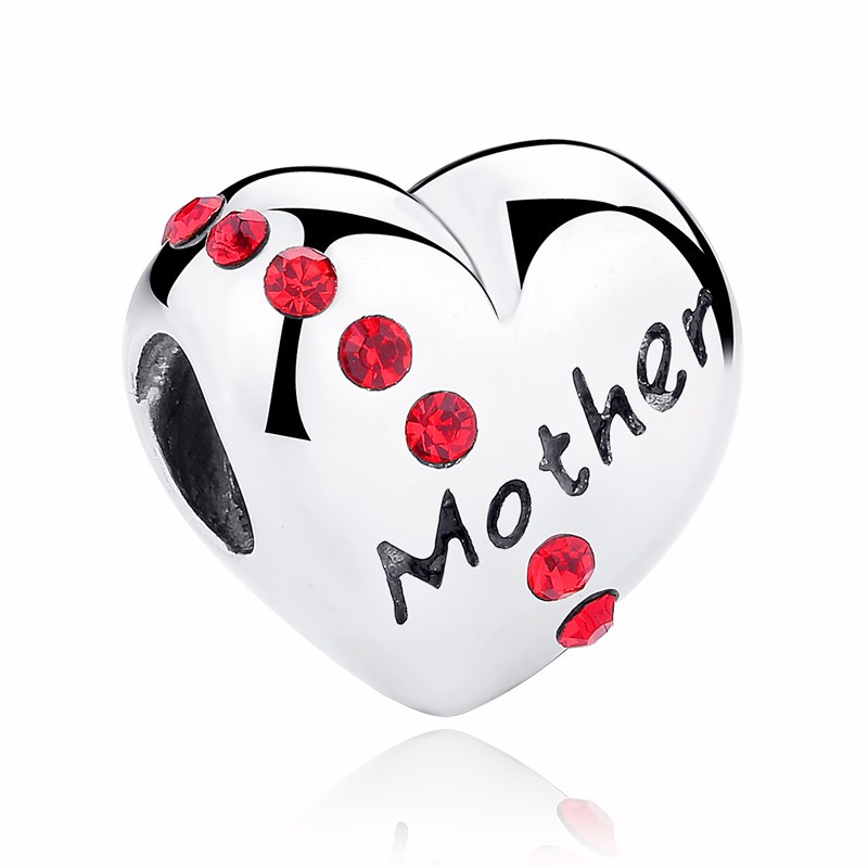 Silver Family Charm Beads - mother