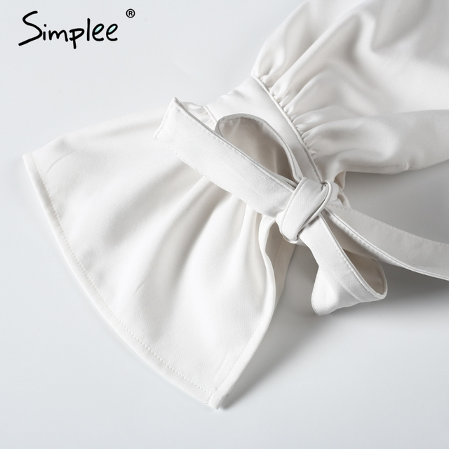 Simplee Cross halter off shoulder blouse shirt women Flare sleeve backless white blouse Summer party bow blusas tops