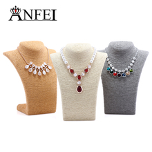 ANFEI 4 Colors 11*8.26inch Necklace Busts Jewelry Display With High Quality Cord Material For Women Jewelry Stand Showcase Susts