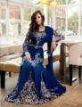 Musulmanes vestidos noche árabe cristal bordado vestido azul de manga larga musulmán vestidos noche