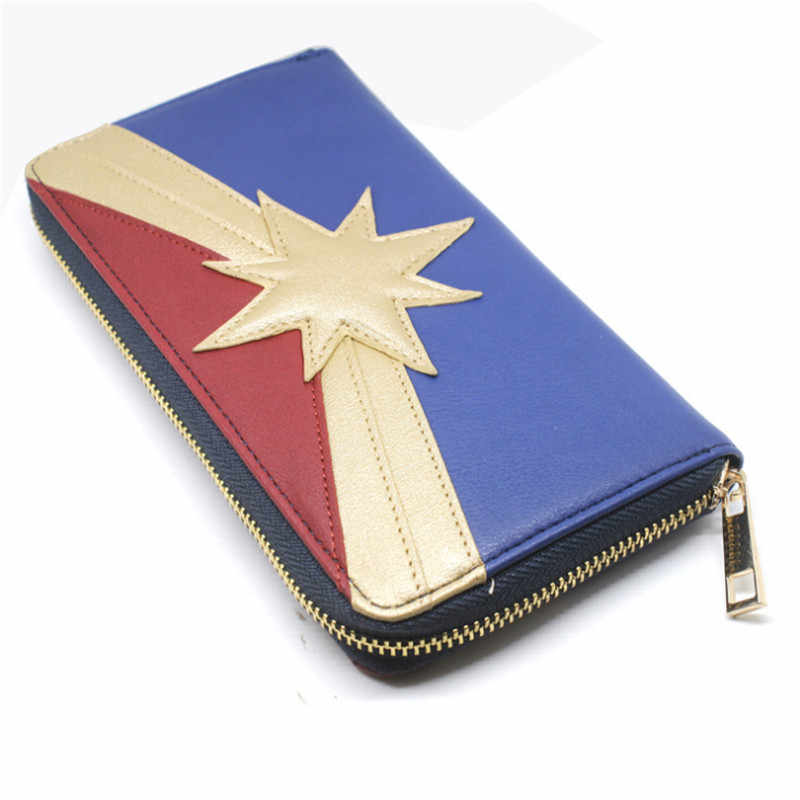 Marvel Film and Television Periphery Long Wallet The Avengers Captain Marvel Orange Play Prop Accessories Zipper Multi-card Wall