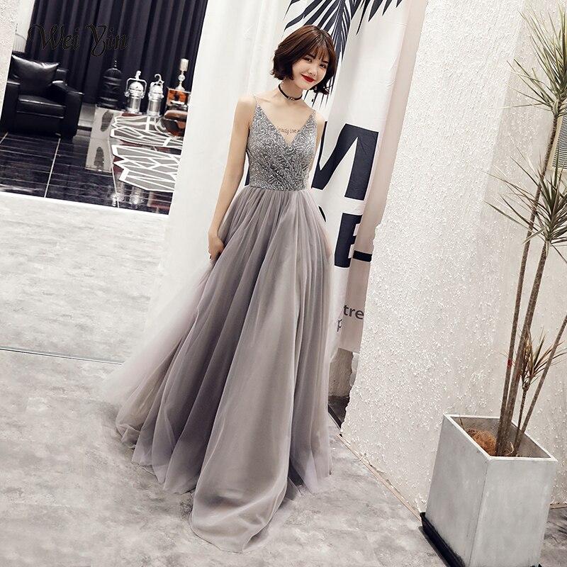weiyin Sexy V-neck   Evening     Dress   Robe De Soiree 2019 High Quality Grey Tulle With Applique   Evening     Dresses   Vestido De Festa