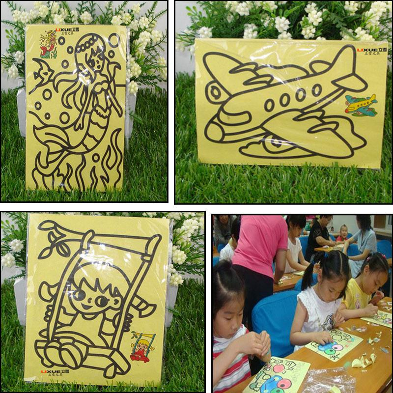 2016 Cartoon DIY Sand Painting Art Drawing Study Fun Toys Gift For Kids Intelligence Education Tools Random Pattern