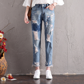 Women Fashion High Waist Loose Floral Embroidery Denim Jeans Female Ripped Hole Harem Pants Trousers Boyfriend Jeans For Women kobeinc streetwear hole ripped jeans for women flower embroidery ankle length pantalon mujer summer fashion female denim pants