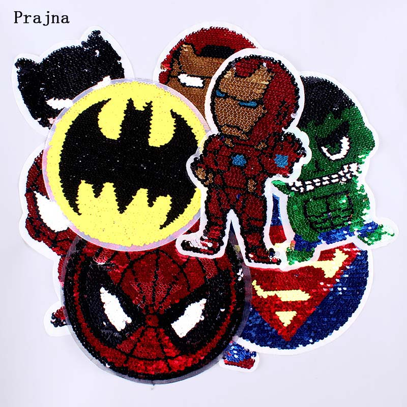 Prajna Sequins Reversible Patch for Clothing Sew on Badge DIY Shinning Crafts Applique Batman Patch to Clothes Accessory Decor F in Patches from Home Garden