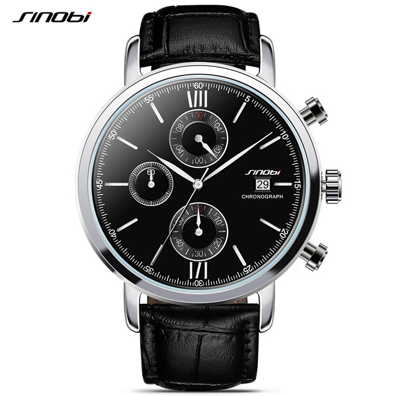 SINOBIスポーツ多機能メンズ腕時計レザー時計バンドトップ高級ブランド男性クロノグラフクォーツ時計男の子腕時計