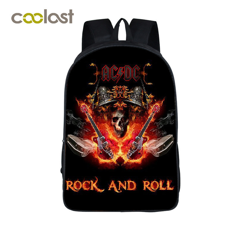 Rock Band ACDC Backpack Led Zeppelin / Pink Floyd Punk Backpack Men Women Nirvana Street Rock Backpacks For Teenage School Bags jp 48 25 pavone 1106648