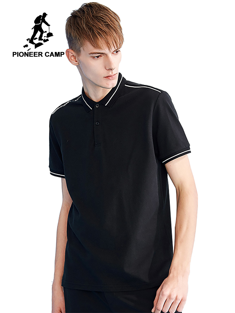 Pioneer camp new short sleeve men   polo   shirt brand clothing white stripe letter print   polo   men quality   polo   shirt male ADP801159